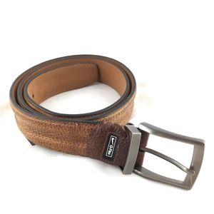 Brown leather belt pebbled stainless steel buckle